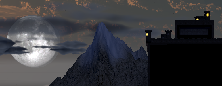 The moonlit top of Dracula's Castle.
