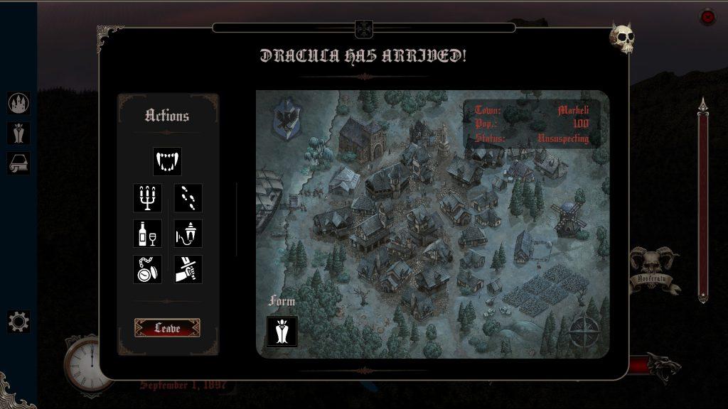 Dracula's Castle Vampire Activities Screen